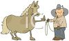 Horse Flipping a Cowboy Off clipart