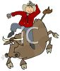 Cowboy Riding a Bull clipart