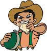 Cartoon of a Cowboy Eating Hard Tack Holding a Canteen clipart