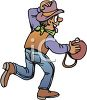 Cowboy Running with a Canteen clipart