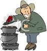 Chuck Wagon Cook Baking in Cast Iron Pots clipart