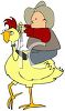 Cowboy Riding a Giant Chicken clipart