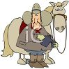 Cartoon of a Cowboy Pouring Coffee with His Horse clipart