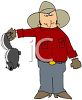 Cartoon of a Rancher Holding a Skunk clipart