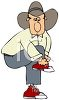 Cowboy Putting on Red Tennis Shoes clipart