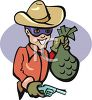 Masked Outlaw Holding a Bag of Loot and a Pistol clipart