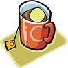 Tea Bag Hanging Out of a Cup of Tea with Lemon clipart