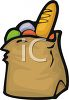 Bag of Groceries with French Bread Loaf clipart