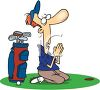 Cartoon of a Golfer Praying for a Good Shot clipart