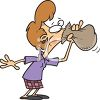 Cartoon of a Woman Hyperventilating Into a Bag clipart