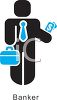 Banker holding a briefcase and cash money clipart