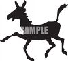 Silhouette of a Donkey Trotting clipart