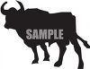 Silhouette of a Bull with Curved Horns clipart