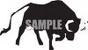 Silhouette of a Bull with His Head Down to Charge clipart