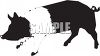 Silhouette of a Black and White Pig clipart