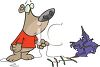 Cartoon of a Bear with a Broken Kite clipart