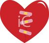 Broken Heart Mended with Bandages clipart