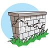 Crack Running Along a Block Wall clipart
