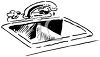 Black and White Cartoon of a Kitchen Sink clipart