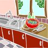 Sink and Counter in a Kitchen clipart