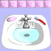 Realistic Bathroom Sink with Soap and a Toothbrush clipart