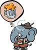 German Elephant Daydreaming About Beer clipart