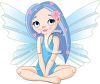 Cute Winged Fairy with Glitter and Flowers clipart