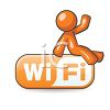 Icon of an Orange Character Sitting on a Wi-Fi Sign clipart