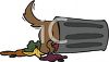 Cartoon of a Dog Digging in a Garbage Can clipart