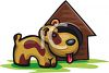 Cute Little Dog by His Dog House clipart