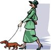 Lady Walking Her Dachshund Dog clipart
