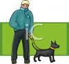 Young Guy Walking His Dog clipart