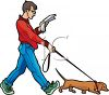 Man Reading a Newspaper While Walking His Puppy clipart