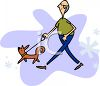 Cartoon of a Chubby Bald Guy Walking His Dog clipart