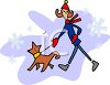 Cartoon of a Woman Walking Her Dog in Winter clipart