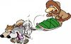 Cartoon of Dogs Pulling a Guy on a Sled clipart
