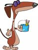 Cartoon of a Blind Dog Selling Pencils clipart