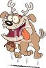 Cartoon Dog Dressed up Like a Reindeer clipart