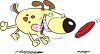 Cartoon of a Fat Dog Chasing a Frisbee clipart