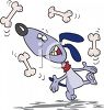 Cartoon Dog Juggling Bones clipart