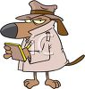 Cartoon Dog Private Investigator clipart