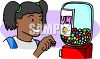 African American Girl Buying Gum from a Gumball Machine clipart
