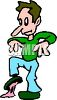 Cartoon of a Man Stepping in Gum clipart