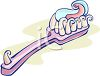 Cartoon of a Toothbrush with Fluoride Toothpaste of the Bristles clipart
