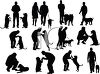 Collection of Silhouettes of People With Their Dogs clipart