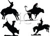 Silhouette of Cowboys Riding Broncs and Bulls clipart