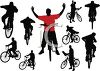 Silhouette of a Collection of Men Riding Bikes clipart