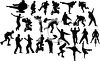 Collection of Silhouettes of Men Doing Various Activities clipart