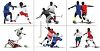 Collection of Silhouettes of Men Playing Soccer clipart