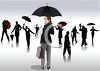 Collection of People Holding Umbrellas in Silhouette clipart